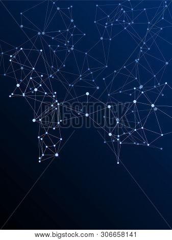Block Chain Global Network Technology Concept. Network Nodes Plexus Dark Blue Background. Dots Nodes