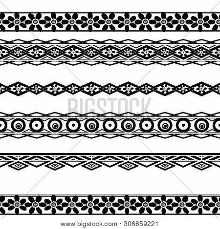 Seamless Line Ornamental Decoration Pattern Background Asian