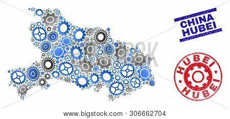 Service Vector Hubei Province Map Mosaic And Stamps. Abstract Hubei Province Map Is Constructed With