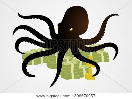 Octopus Holding Money With It's Tentacles