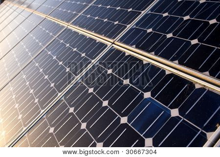 Texture detail of photoelectric cells of a solar panel (Blue and ecology energy) poster