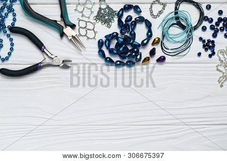 Jewelry Findings Handmade Craft Composition With Pliers Beads Embellishments