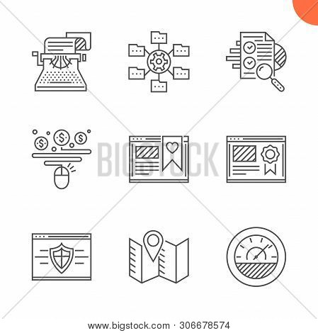 Seo Related Vector Line Icons Set. Isolated On White Background. Website Ranking, Copywriting, Effic