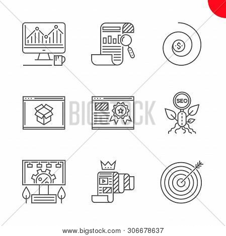 Seo Related Vector Line Icons Set. Report, Organic Seo, Monitoring, Return On Investment, Page Quali