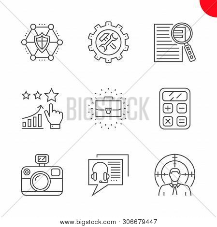 Seo Related Vector Line Icons Set. Online Consulting, Target Audience, Photo Presentation, Support,