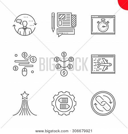 Seo Related Vector Line Icons Set. Pay Per Click, Press Relise, Return On Investment, Landing Page,