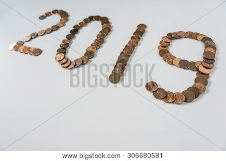 2019 Year Made Of Isolated Pennies On Blank White Background With Copyspace