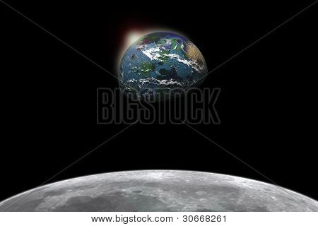 Composite image of earth viewed from the moon (Focus on Earth)