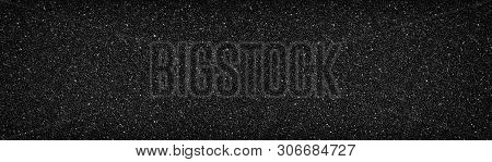 Black Stone Wall Wide Texture. Anthracite Surface Panorama. Dark Pebble Dash Panoramic Background