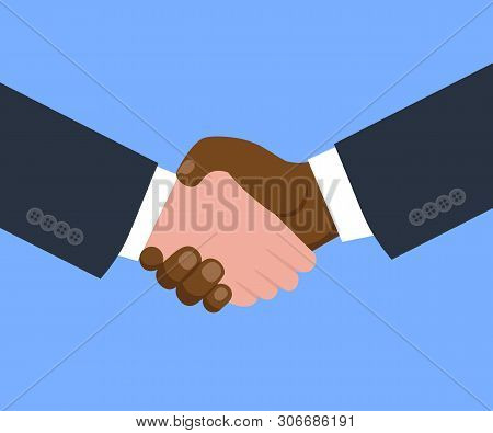 Shaking Hands Business. Symbol Of Success Deal, Happy Partnership, Greeting Shake, Flat Vector Illus