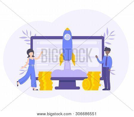 Business Start Up Concept For Web Page, Banner, Presentation, Social Media. Flat Cector Illustration