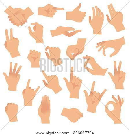 Gesturing Hands. Hand With Counting Gestures, Forefinger Sign. Open Arm Showing Signal And Handshake