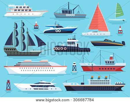 Maritime Ships Flat. Water Carriage, Vessels Boats Yacht Ship Battleship Warship Large Vessel And Sp