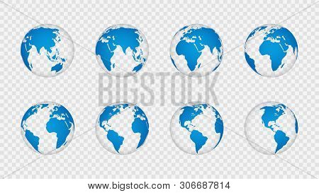 Earth Globe 3d. Realistic World Map Globes Continents. Planet With Cartography Texture, Geography Is
