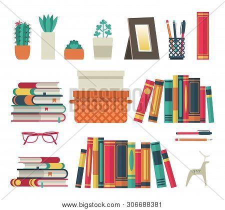 Bookshelves Set. Flat Shelf Book In Room Library, Reading Book Office Shelf Wall Interior Study Scho