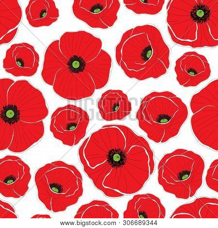 Red Poppy Flowers. Seamless Background Pattern. Can Be Used For Textile, Wallpapers, Prints, Bedclot