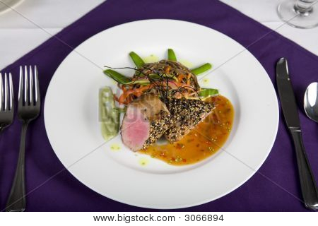 Tuna Steak Dinner With Table Setting