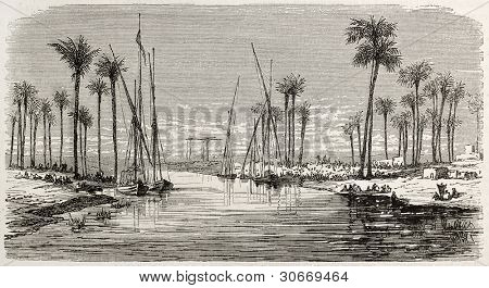 Workers encampment in Tall-al-Kabir channel banks, between Cairo and Suez, old view. Created by Gaildrau, published on L'illustration, Journal Universel, Paris, 1863
