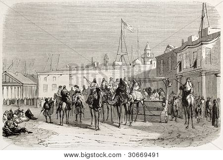 De Lesseps departing from Tall-al-Kabir towards Gebel-Geneffe with Suez Governor and British consul. Created by Gaildrau, published on L'illustration, Journal Universel, Paris, 1863