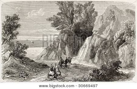 Arethusa fountain old view, Ithaca island, Greece. Created by Provost, published on L'Illustration, Journal Universel, Paris, 1863