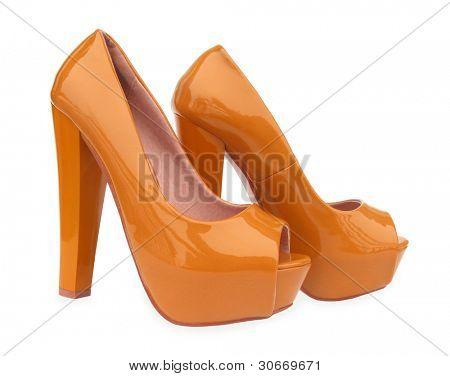 Brown high heels open toe pump shoes