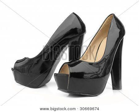 Black high heels open toe pump shoes