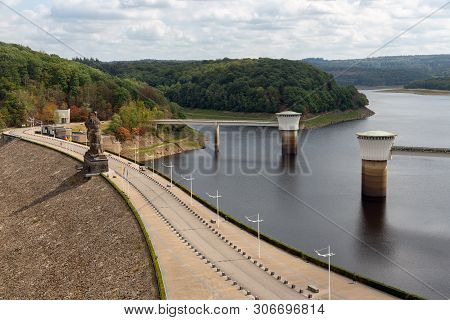 View At Gileppe Dam With Artificial Lake In Belgium Ardennes With Two Drinking Water Supply Systems