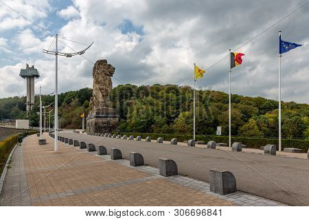 Gileppe Dam In Belgium With Pathway, Watch-tower And Monumental Lion
