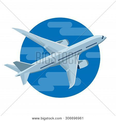 Airplane Flies In The Sky. Airliner. Business Aircraft Jet Aviation. Passenger And Freight Transport