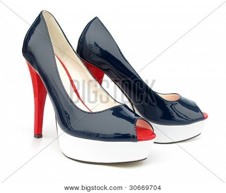 Navy blue white red high heels open toe pump shoes