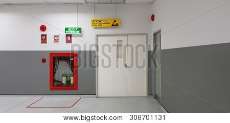 Fire Exit Way Door And Fire Exit Sign Lightbox And Fire Hose In Electronic Industry ,green Emergency