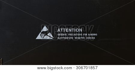 Standard Caution Electrostatic Sensitive Device (esd) Symbol On The Box,black Paper Box That Is Coat