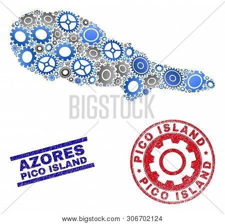 Repair Workshop Vector Pico Island Map Mosaic And Seals. Abstract Pico Island Map Is Constructed Fro