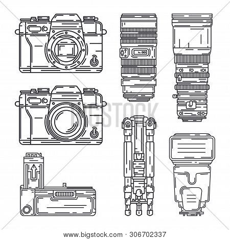 Line Vector Icon Set Digital Photographer Professional Equipment. Photography Art. Photographic Powe