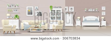 Modern Country House Interior Background With Living Room And Bedroom Combination , Vector , Illustr