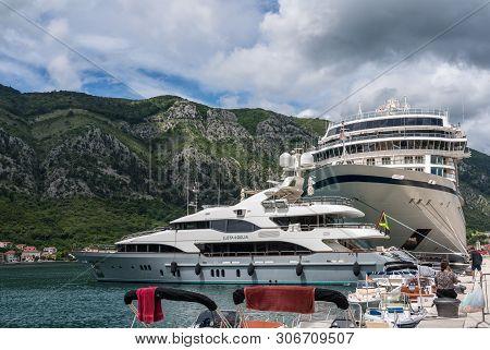 Kotor, Montenegro - 21 May 2019: Prow Of Viking Star Above Expensive Yacht In Kotor, Montenegro