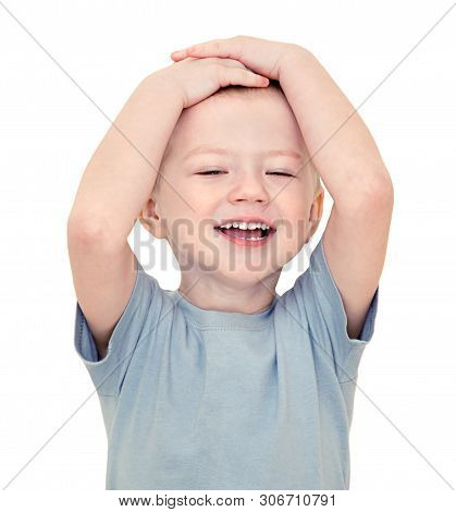 Happy Little  Child Smiles Isolated On A White Background. Beautiful Small  Boy Cheerful Laughs. Kid