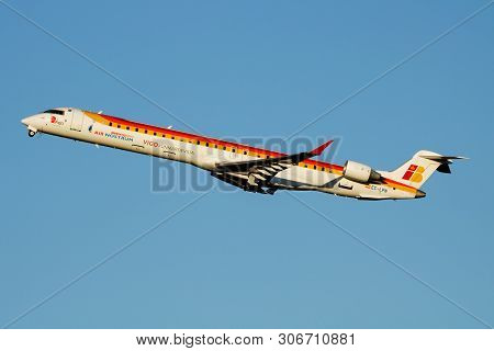 Iberia Regional Air Nostrum Bombardier Crj-1000 Ec-lpn Passenger Plane Departure At Madrid Barajas A