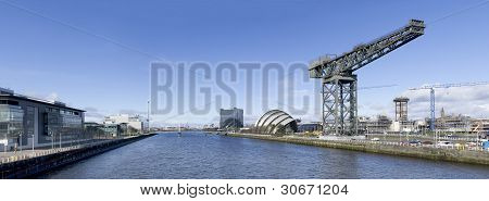 High resolution panorama of the River Clyde in Glasgow showing Finnieston Crane Armadillo Bell's Bridge and Science Tower. poster
