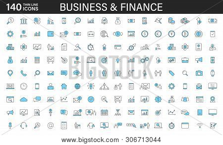 Big Set Of 140 Business And Finance Web Icons In Line Style. Money, Bank, Contact, Office, Payment,