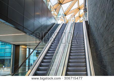 Escalators In An Train Station. Empty Escalator Stairs. Modern Escalator In Public Building, Shoppin