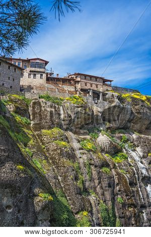 Stunningly Located On Top Of A Rock Holy Monastery Of Great Meteoron In Meteora, Greece