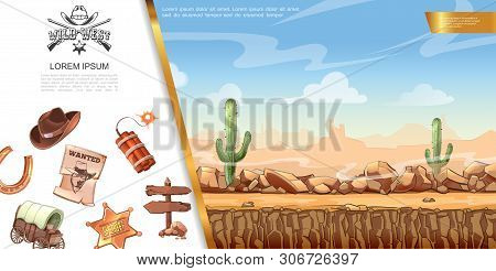 Cartoon Wild West Concept With Desert Landscape Cowboy Hat Dynamite Signboard Sheriff Badge Cart Hor