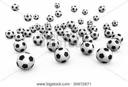 Falling football balls