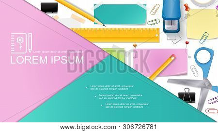 Realistic Stationery Composition With Scissors Pencils Stapler Pushpins Note Stickers Ruler Binder C