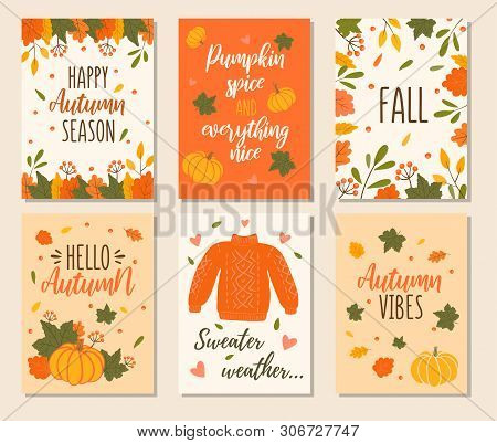 Autumn Cards Set With Quotes, Pumpkins, Leaves And Sweater. Hand Drawn Fall Vector Greeting Cards Il