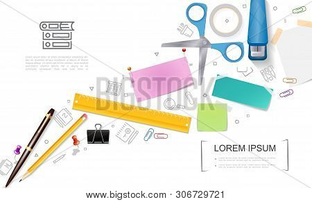 Realistic Office Stationery Template With Scissors Filled Stapler Pen Pencil Ruler Pushpins Note Sti