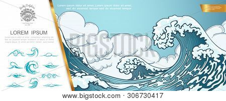 Hand Drawn Marine Concept With Big Sea Storm And Tsunami Waves Vector Illustration