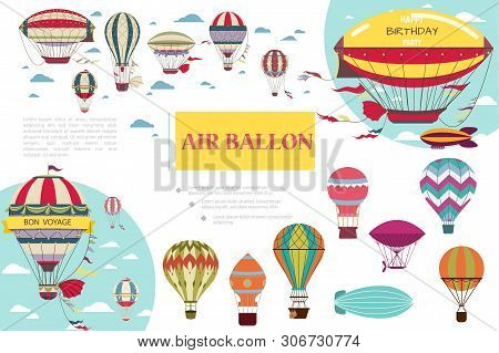 Flat Hot Air Balloons Composition With Airships Dirigibles And Air Balloons Of Different Colors And
