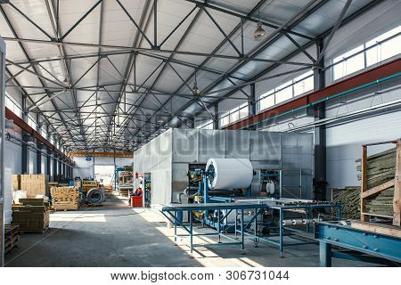 Automatic Conveyor Machinery Line Or Belt For Metal Roll Forming In Industrial Factory Interior As I